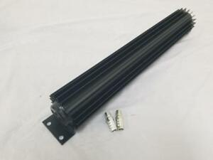 18 Black Anodized Dual Pass Finned Aluminum Transmission Cooler With Fittings