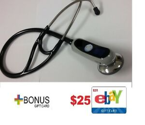 New Adc 658 Electronic Digital Black Stethoscope littmann Style W 25 Gift