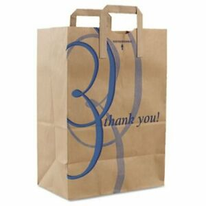 Duro Thank You Handle Bags 12 w X 7 d X 17 h Brown Kraft 300 Bags dro41265