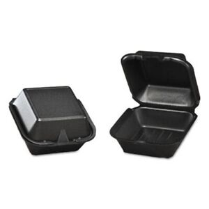 Genpak Foam Hinged Carryout Container Black 125 Containers gnpsn2253l