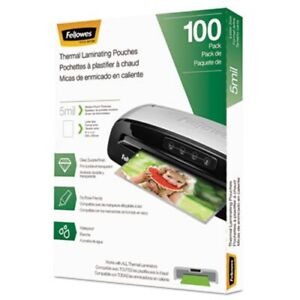 Fellowes Laminating Pouches Hot Pouch 9 X 11 5 5 Mil 100 Pack fel5743501