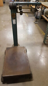 Vintage Fairbanks Platform Rolling Scale 1000lb Capacity With Weights