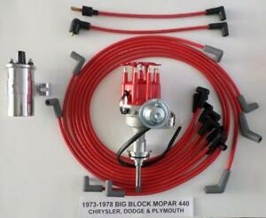 1973 78 Mopar 440 Small Cap Red Hei Distributor Chrome Coil spark Plug Wires