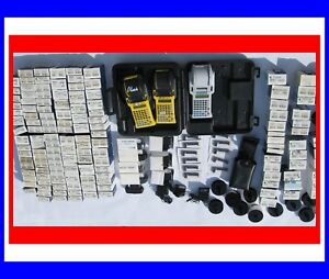 Huge Lot Of Id Pro Plus Labelers W Oem Case Labels Batteries Ink Complete
