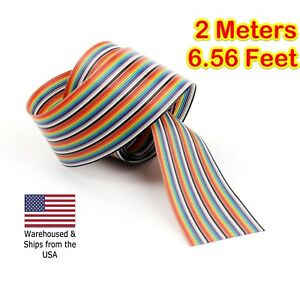 2m 6 56ft 40 Way 40 Pin Flat Color Rainbow Ribbon Idc Cable Wire Rainbow Cable