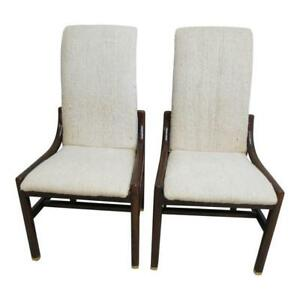 Pair Vintage Henredon Scene One Campaign Dining Room Side Chairs Mid Century A