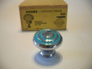 Vintage Nos 1 1 8 Chrome Cabinet Knobs Turquoise Lines Circle Drawer Pull Brass