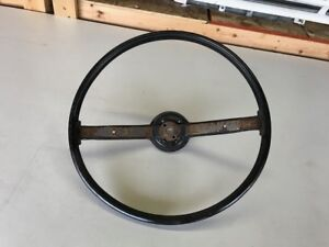 1971 73 Mustang Standard 2 Spoke Steering Wheel Black Original Decent