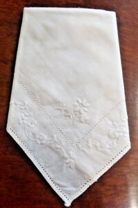 A Single Vintage Self Coloured Embroidered Ladies Hankerchief