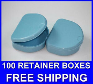 100 Light Blue Denture Retainer Box Orthodontic Dental Case Mouth Ortho Brace