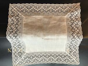 Mid Century Vintage Lace Wedding Hankerchief Linen Never Used