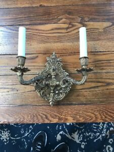 Vintage Brass Wall 2 Light Sconce Spain
