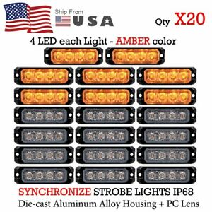 20 Pcs Amber 4 Led Emergency Warning Hazard Flashing Sync Strobe Lights Bar Kit