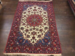 Authentic Persian Isfahan Oriental Rug Hand Knotted Vintage 5 3 X 3 5