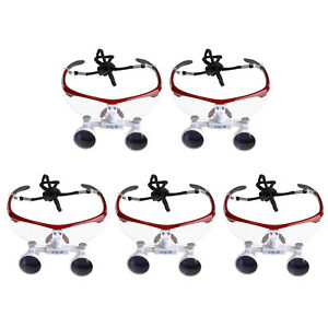 5pc Dental Surgical Medical Binocular Loupes Magnifying Glasses 3 5x420mm Red