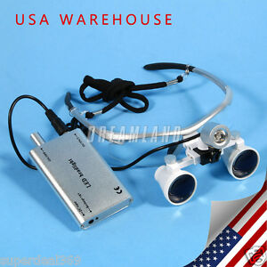 Usa Dentist 3 5x Binocular Loupes Glasses With Led Head Light Lamp Battery