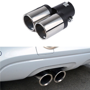 62mm Stainless Steel Auto Car Rear Exhaust Chrome Muffler Tip Tail Dual Pipes