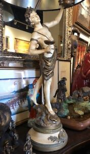 L F Moreau Signed French Figural Table Lamp