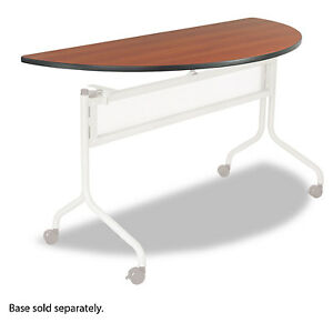 Safco Impromptu Series Mobile Training Table Top Half Round 48w X 24d Cherry