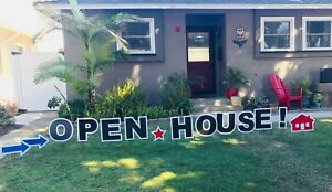 Open House Real Estate Outdoor Yard Lawn Sign Realtor For Sale By Owner Banner