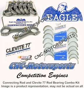 Sb Chevy 350 Eagle Forged I Beam Connecting Rods 5 7 Bushed Clevite Bearings