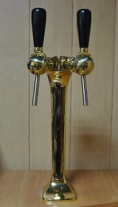 New Beer Tap Faucet Draft Double Lines Gold Tower Kegerator Cornelius