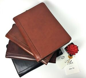 Leather Portfolio Personalized Business Organizer Journal Document Holder Laptop