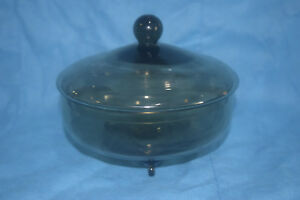 Antique Candy Dish With Lid Resting On 3 Feet Green Shade