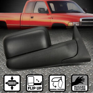 For 94 02 Dodge Ram Truck Right Side Manual Adjustment Flip Up Tow Towing Mirror