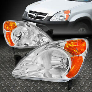 For 2002 2004 Honda Cr v Chrome Housing Amber Corner Bumper Headlight lamp Set
