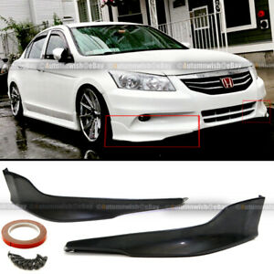 Fit 11 12 Accord 4dr 2pcs Unpainted Front Bumper Lip Spoiler Splitter Aprons