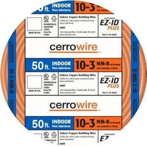 New Cerro Wire 50 ft 10 3 Nm b W ground Indoor Copper Building Wire Roll Cable