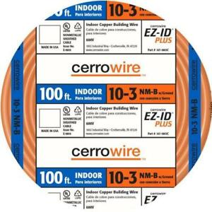 New Cerro Wire 100 ft 10 3 Nm b W ground Indoor Copper Building Wire Roll Cable