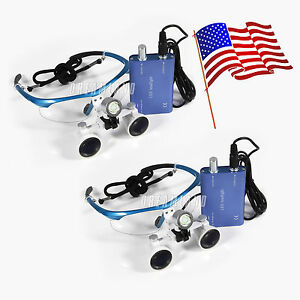 2 Sets Dental Surgical Medical Binocular Loupes 3 5x 420mm Led Head Light Usa