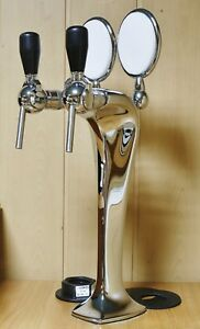 Beer Tower Tap Faucet Draft Double Lines Chrome Keg Kegerator Lights Logo