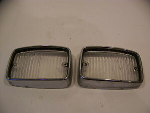 1970 71 72 Plymouth Duster Valiant Front Parking Lenses Trim Bezels Oem
