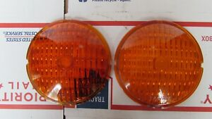 2 Glass Amber Yankee Vintage Turn Lamp Lens Early Years Light 4 1 4