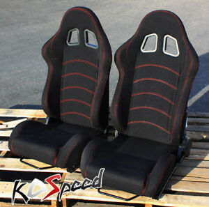 Universal Black red Stitch Cloth Racing Seats sliders Pair Fully Reclinable Jdm