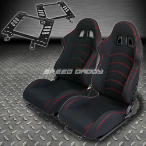 Pair Type 1 Reclining Black Cloth Racing Seat bracket For 79 98 Ford Mustang