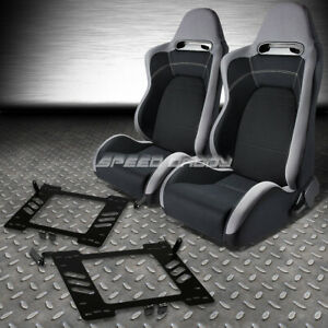 2x Type R Gray Black Cloth Racing Seats Bracket For 99 05 Vw Golf Jetta Beetle