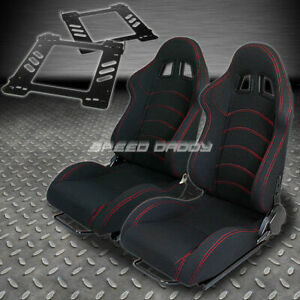 Pair Type 1 Reclining Black Cloth Racing Seat Bracket For 92 99 Bmw E36 2 Dr