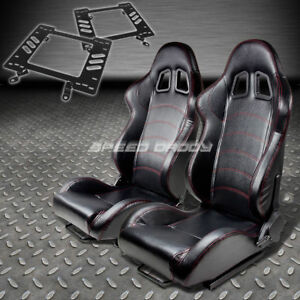 Pair Type 1 Reclining Black Pvc Racing Seat bracket For 79 98 Ford Mustang