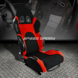Fully Reclinable Red Black Cloth Bucket Racing Seat Slider Rail Passenger Side