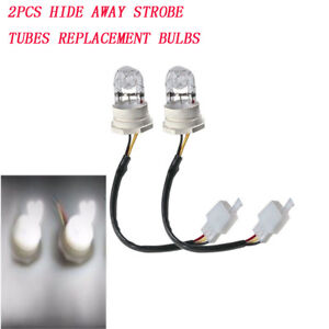2x White Hide Away Strobe Tubes For 80w 120w Kit Headlight Replacement Bulbs