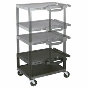 Variable Height Plastic Av Utility Cart With 6 Outlet Power Strip
