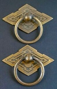 2 Eastlake Antique Style Brass Ornate Ring Pulls Handles 2 3 8 Wide H15