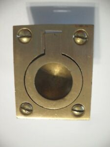 Vintage Satin Brass Ring Pull Flush Mount Inset Type Solid Cast Rectangular Base