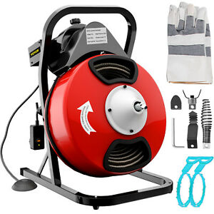 Pipe Drain Cleaner Cleaning Machine Sewer Snake Equipment W cutter Electric