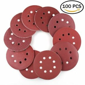5 In 8 Hole Hook and Loop Sanding Discs Assorted Orbital Sander Round Sandpaper