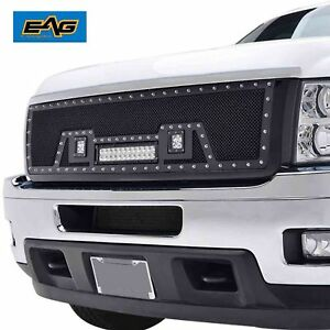 11 14 Chevy Silverado 2500hd 3500hd Grille Rivet Ss Wire Mesh Grill W led Light